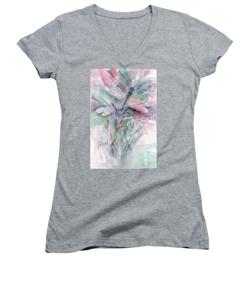 Women's V-Neck featuring the painting Dragonfly Duet by Carolyn Utigard Thomas