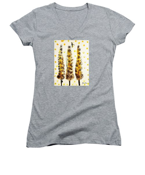 Dragonfly Flying Through The Yellow  Forest By Jasna Gopic Women's V-Neck (Athletic Fit)