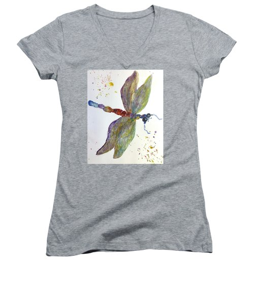 Dragonfly Women's V-Neck T-Shirt (Junior Cut) by Lucia Grilletto