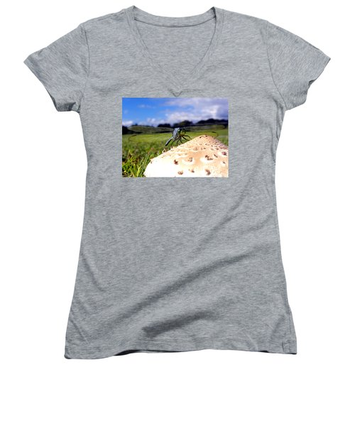 Dragonfly On A Mushroom Women's V-Neck T-Shirt (Junior Cut) by Chris Mercer