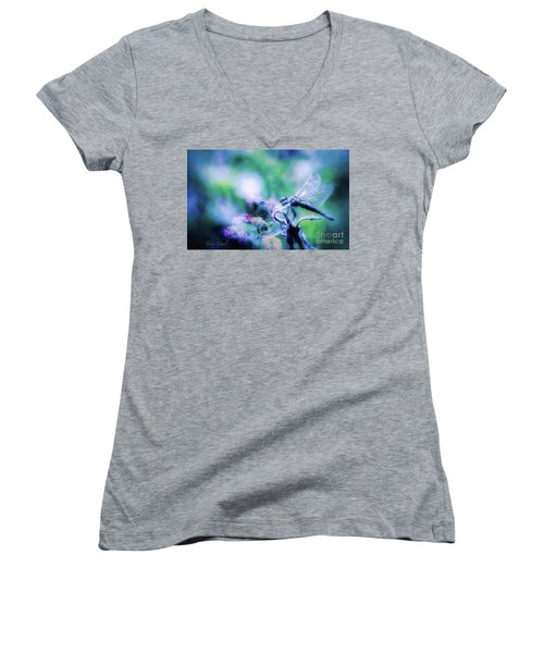 Dragonfly On Lantana-blue Women's V-Neck T-Shirt (Junior Cut) by Toma Caul