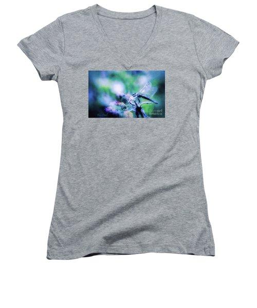 Dragonfly On Lantana-blue Women's V-Neck (Athletic Fit)