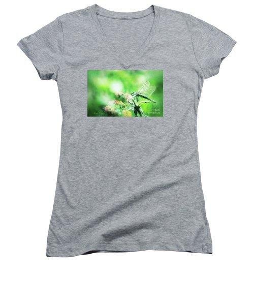 Dragonfly On Lantana-green Women's V-Neck T-Shirt (Junior Cut) by Toma Caul