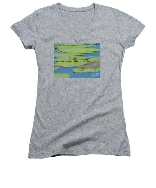 Dragonfly On Lily Pad Women's V-Neck