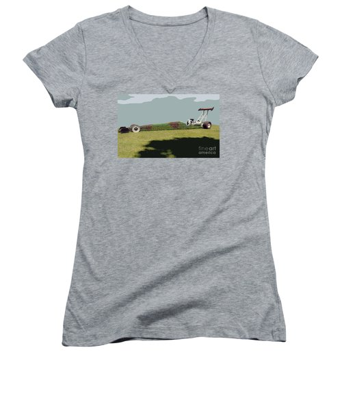 Dragster Flower Bed Women's V-Neck (Athletic Fit)