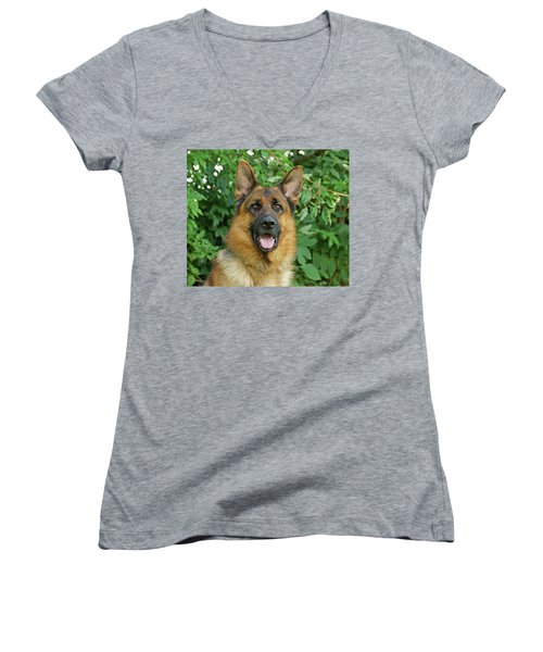 Women's V-Neck T-Shirt (Junior Cut) featuring the photograph Drake by Sandy Keeton