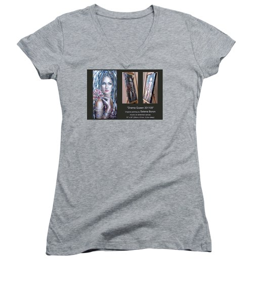 Women's V-Neck T-Shirt (Junior Cut) featuring the painting Drama Queen 301109 by Selena Boron