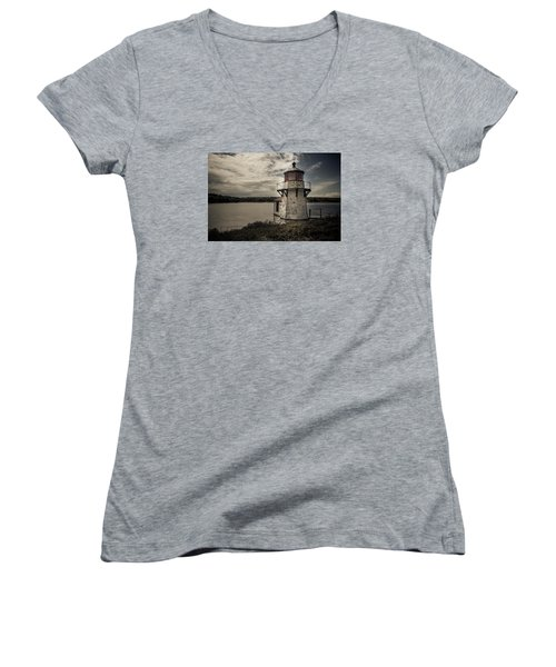 Dramatic Mid-day Shot Of Squirrel Point Women's V-Neck