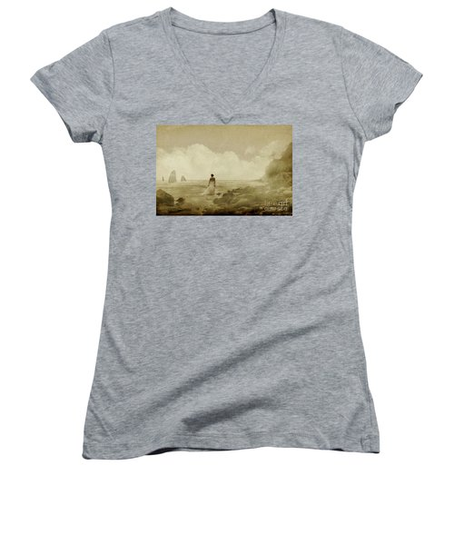 Dramatic Seascape And Woman Women's V-Neck T-Shirt