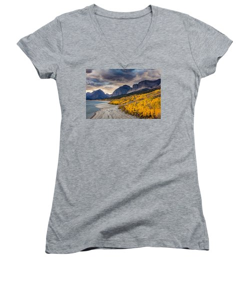 Women's V-Neck T-Shirt (Junior Cut) featuring the photograph Dramatic Sunset Sky In Autumn  by Pierre Leclerc Photography