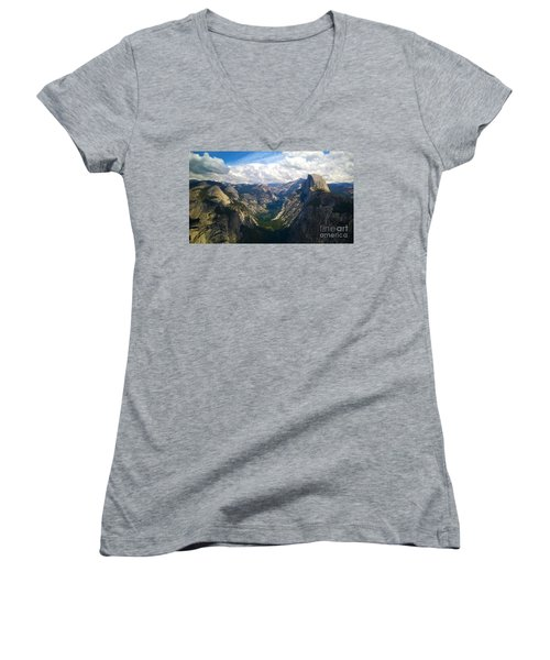 Women's V-Neck T-Shirt (Junior Cut) featuring the photograph Dramatic Yosemite Half Dome by Debra Thompson