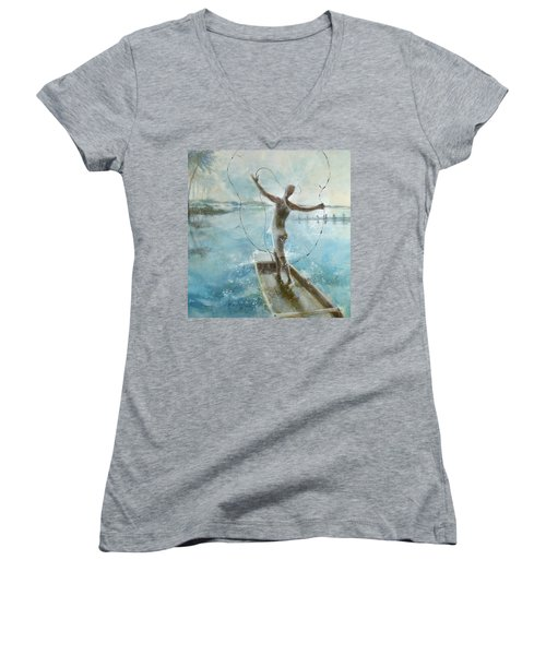 Dream Catcher Women's V-Neck T-Shirt (Junior Cut) by Gertrude Palmer