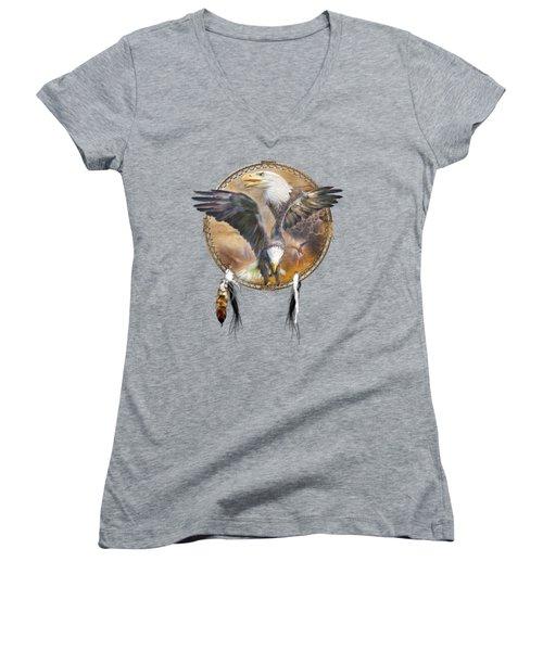Women's V-Neck T-Shirt (Junior Cut) featuring the mixed media Dream Catcher - Spirit Eagle 3 by Carol Cavalaris