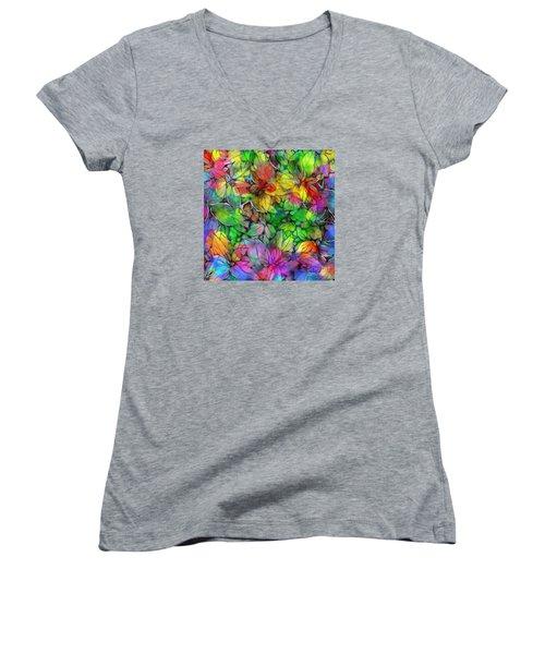 Women's V-Neck T-Shirt (Junior Cut) featuring the digital art Dream Colored Leaves by Klara Acel
