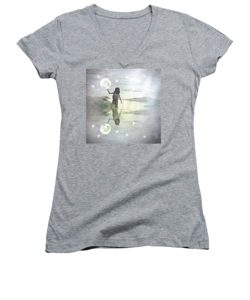 To Touch The Moon Women's V-Neck T-Shirt