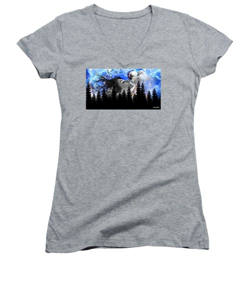 Dream Is The Space To Fly Farther Women's V-Neck T-Shirt