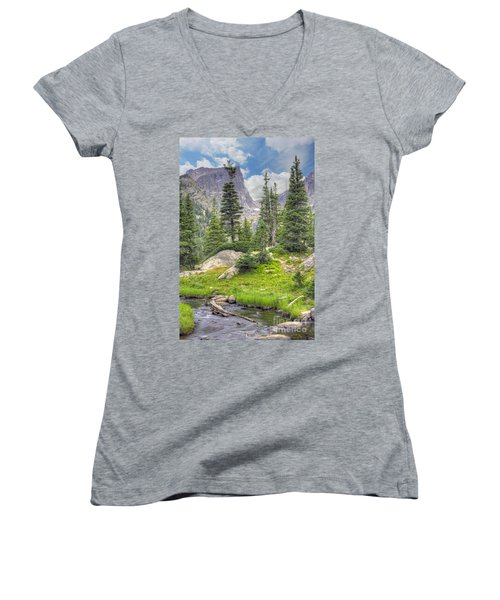 Dream Lake Women's V-Neck T-Shirt (Junior Cut) by Juli Scalzi
