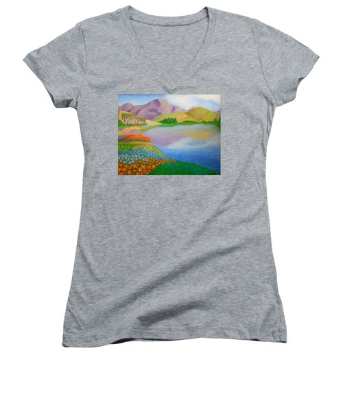 Women's V-Neck T-Shirt (Junior Cut) featuring the painting Dream Land by Sheri Keith