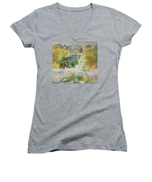Women's V-Neck T-Shirt (Junior Cut) featuring the painting Dream Of Dreams. by Sima Amid Wewetzer