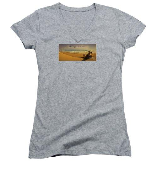 Dreaming Women's V-Neck T-Shirt (Junior Cut) by Pamela Blizzard