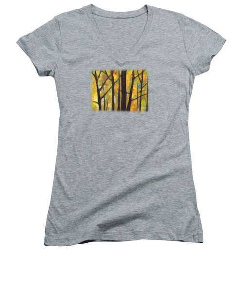 Women's V-Neck T-Shirt (Junior Cut) featuring the painting Dreaming Trees 1 by Hailey E Herrera