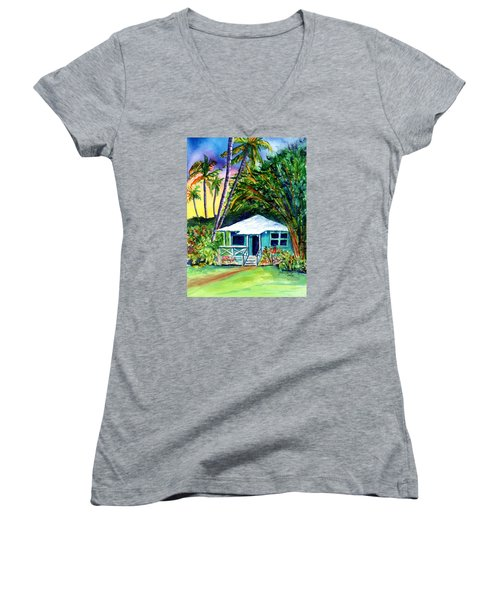 Women's V-Neck T-Shirt (Junior Cut) featuring the painting Dreams Of Kauai 2 by Marionette Taboniar