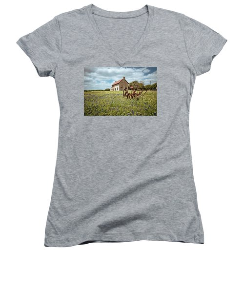 Women's V-Neck T-Shirt (Junior Cut) featuring the photograph Dreams Of Long Ago by Linda Unger