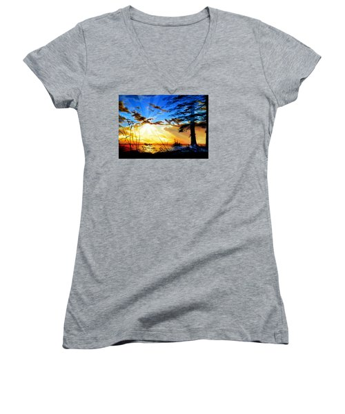 Women's V-Neck (Athletic Fit) featuring the painting Dreams Of Sunrise Through The Pines by Hanne Lore Koehler