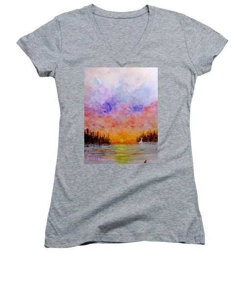Dreamscape.. Women's V-Neck T-Shirt (Junior Cut) by Cristina Mihailescu
