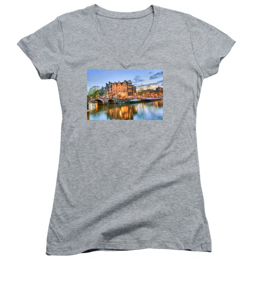 Dreamy Amsterdam   Women's V-Neck (Athletic Fit)