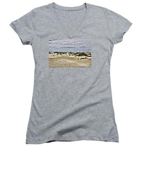 Dreamy Dunes Women's V-Neck T-Shirt (Junior Cut) by Roberta Byram