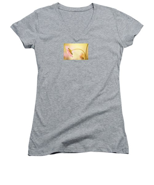 Women's V-Neck T-Shirt (Junior Cut) featuring the photograph Dreamy Pink Flower by Bonnie Bruno