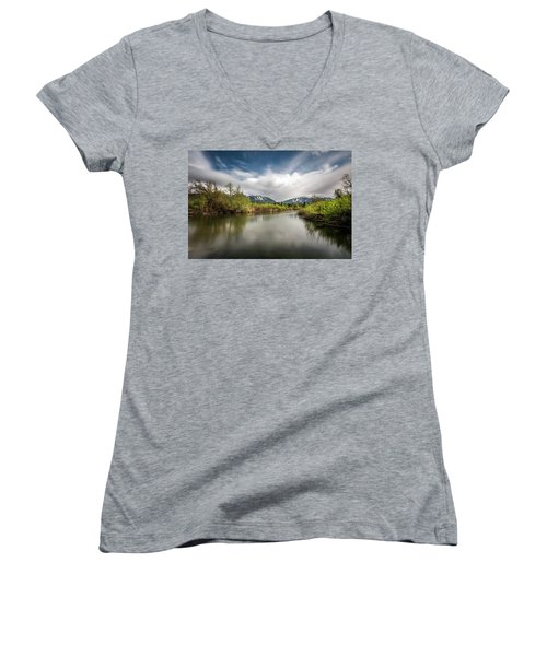 Women's V-Neck T-Shirt (Junior Cut) featuring the photograph Dreamy River Of Golden Dreams by Pierre Leclerc Photography