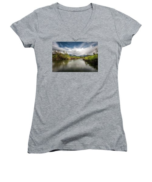 Dreamy River Of Golden Dreams Women's V-Neck