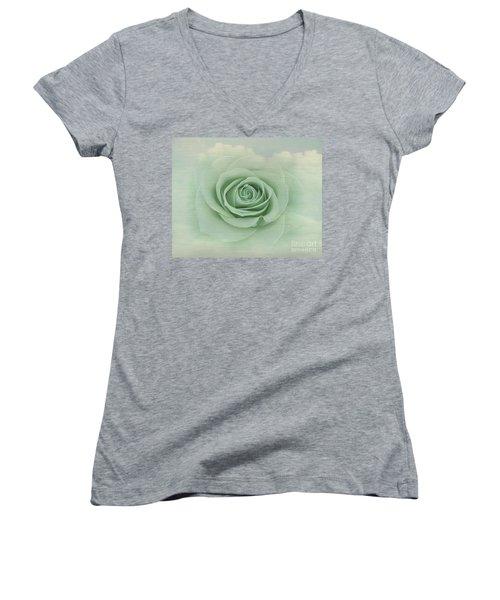 Dreamy Vintage Floating Rose Women's V-Neck T-Shirt