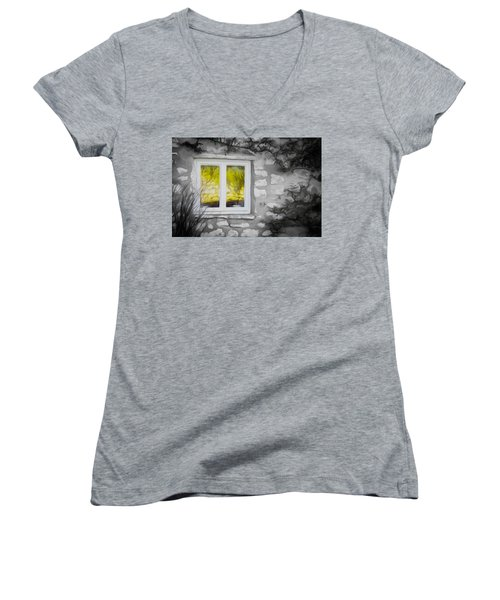 Dreamy Window Women's V-Neck T-Shirt (Junior Cut)
