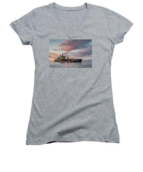 Dredging Ship Women's V-Neck T-Shirt (Junior Cut) by Greg Nyquist