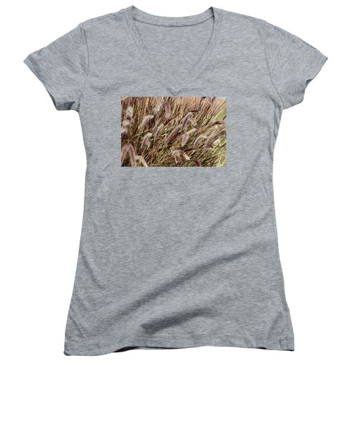 Dried Grasses In Burgundy And Toasted Wheat Women's V-Neck (Athletic Fit)