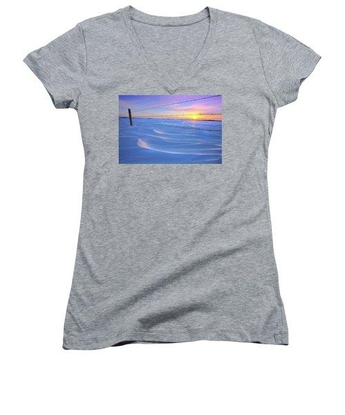 Women's V-Neck T-Shirt (Junior Cut) featuring the photograph Drifting Away by Dan Jurak