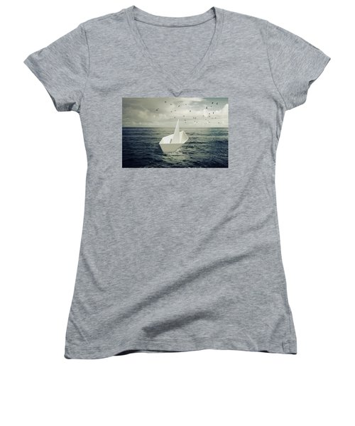 Women's V-Neck T-Shirt (Junior Cut) featuring the photograph Drifting Paper Boat by Carlos Caetano