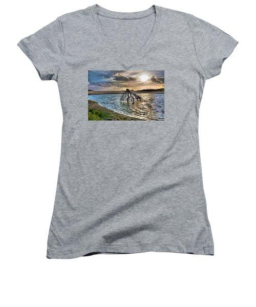 Driftwood In A Tide Pool Outer Banks Ap Women's V-Neck T-Shirt (Junior Cut) by Dan Carmichael