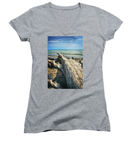 Women's V-Neck T-Shirt (Junior Cut) featuring the photograph Driftwood On Beach - Grant Park - Lake Michigan Shoreline by Jennifer Rondinelli Reilly - Fine Art Photography