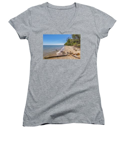 Women's V-Neck T-Shirt featuring the photograph Driftwood On The Beach by Charles Kraus