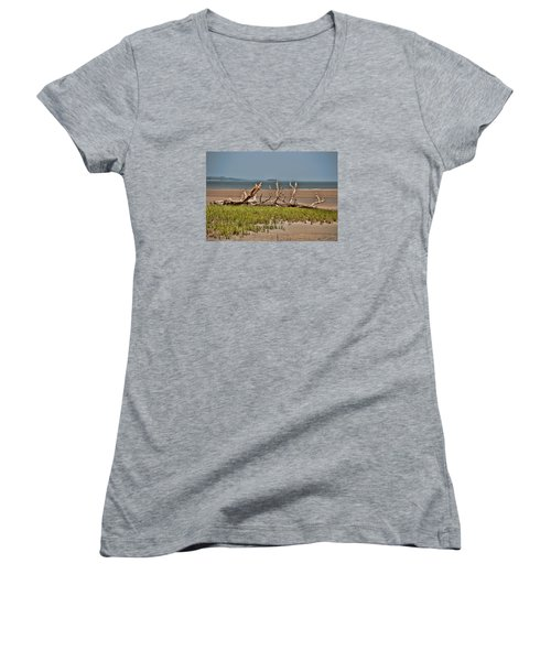 Driftwood With Baracles Women's V-Neck T-Shirt (Junior Cut)