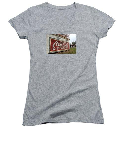 Drink Coca-cola Women's V-Neck T-Shirt (Junior Cut) by Lynn Jordan