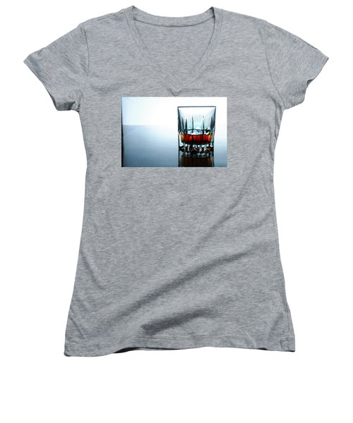 Drink In A Glass Women's V-Neck T-Shirt (Junior Cut) by Jun Pinzon