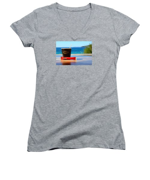 Women's V-Neck T-Shirt (Junior Cut) featuring the photograph Drink It In by Richard Patmore