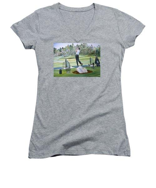 Driving Pine Hills Women's V-Neck T-Shirt (Junior Cut) by P Anthony Visco