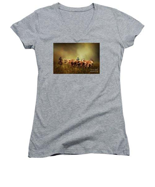 Driving The Herd Women's V-Neck T-Shirt