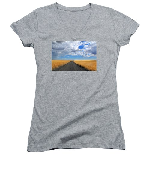 Driving Through The Wheat Fields Women's V-Neck (Athletic Fit)
